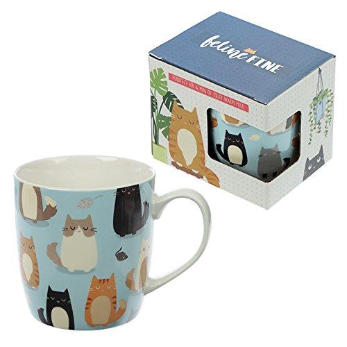 Puckator Tasse aus feinem Porzellan, Katze, Knochenporzellan, gemischt, Height 9cm Width 12cm Depth 8.5cm