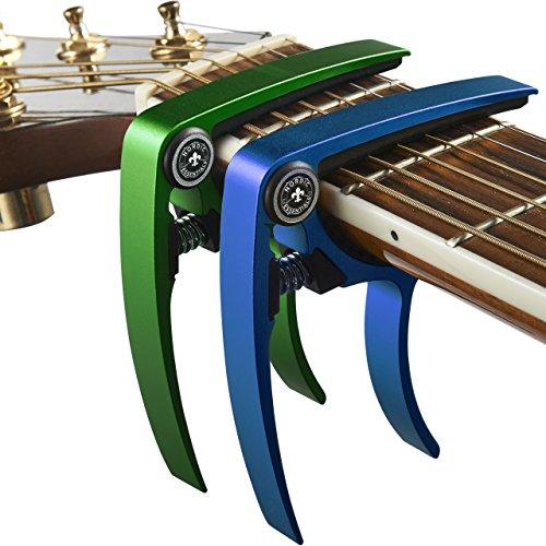 Guitar Capo (2 Pack) for Guitars, Ukulele, Banjo, Mandolin, Bass - Made of Ultra Lightweight Aluminum Metal (1.2 oz!) for 6 & 12 String Instruments - Nordic Essentials, (Green+Blue)