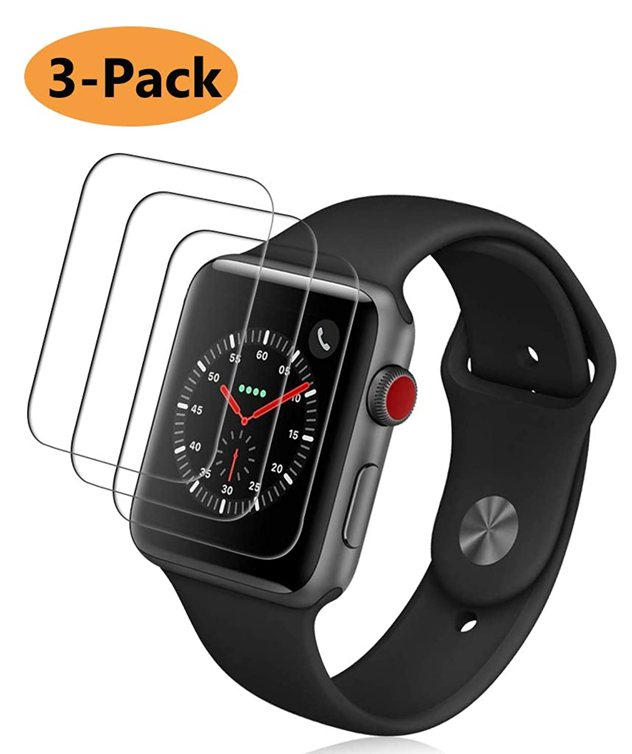 [3 Pack] Fotbor for Apple Watch Screen Protector 42mm Series 3/2/ 1, HD Clear Anti-Scratch Anti-Bubble Tempered Glass Screen Protector Lifetime Replacement Warranty [Only Covers The Flat Area] (42mm)