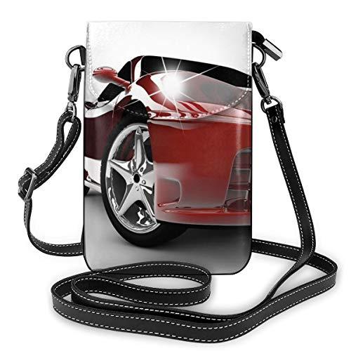 Women Small Cell Phone Purse Crossbody,Modern Automotive Vivid Toned Car Back View Prestige Passion Artistic Image