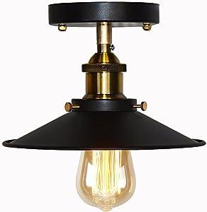 Paraguas Lámpara de techo Lámpara de montaje semi a ras de luz Industria única Cabeza Pequeña Falda negra Luz de techo Edison Vintage Barn Light