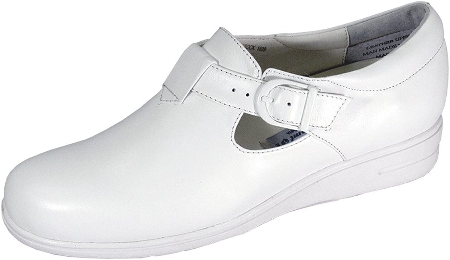 24 Hour Comfort Morgan Women Wide Width Classic Cushioned Leather Comfort Slip On shoes with Buckle