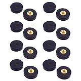 GeeSo 23mm 黒檀 製 スパイク インシュレータ 付属のブチルゴムシート (8個セット, 黒檀&真鍮 1#)