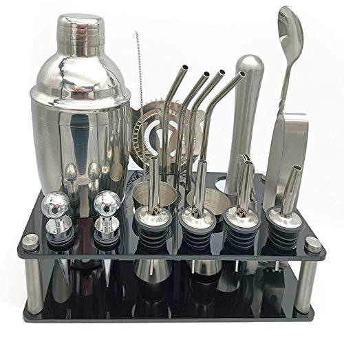 Ramingt Conjunto De Fabricación De Cócteles Conjunto De Cócteles De 20pcs Boston Shaker Mixer Bar Accesorios para Uso Doméstico Y Bar. Acero para Barware