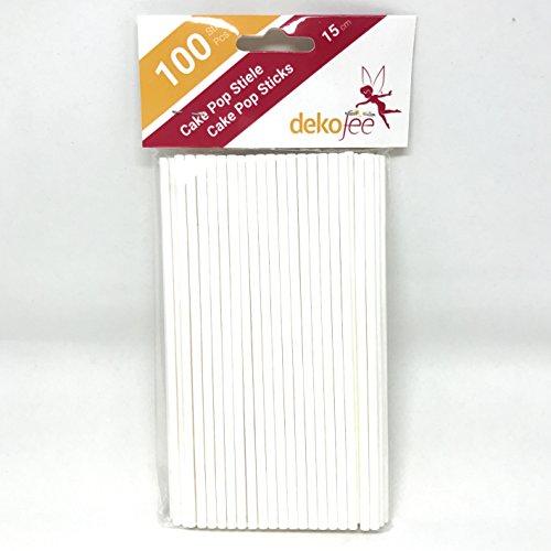 dekofee Cake Stiele-15cm-Cake Pop Lollipop Sticks-Papier Stiele, Kraftpapier, Weiß, 15cm, 100