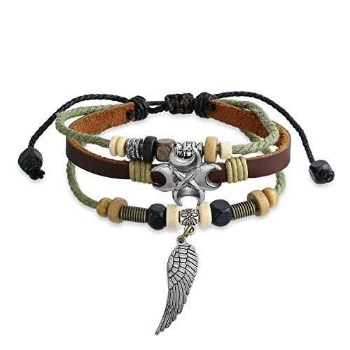Bling Jewelry Engelsflügel Feder Charm Braun Aus Echtem Leder Seil Multi Strand Surfen Zen Armband Für Damen Herren Einstellbar