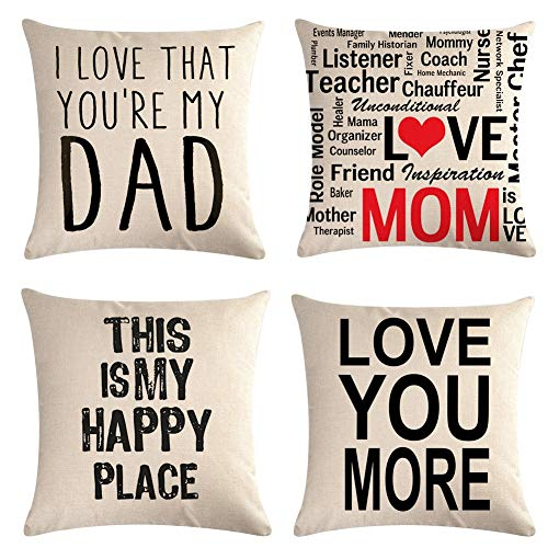 Homyall Proverb Cushion Covers Square Decorative Pillow Covers Cotton Linen Throw Pillow Covers Set of 4 Cushion Covers 18x18 inch, 4 Packs (Proverb)