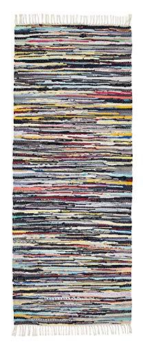 andiamo Bunter Flickenteppich aus Baumwolle, pflegeleichter Fleckerlteppich, handgewebt, robust, Größe:80 x 200 cm