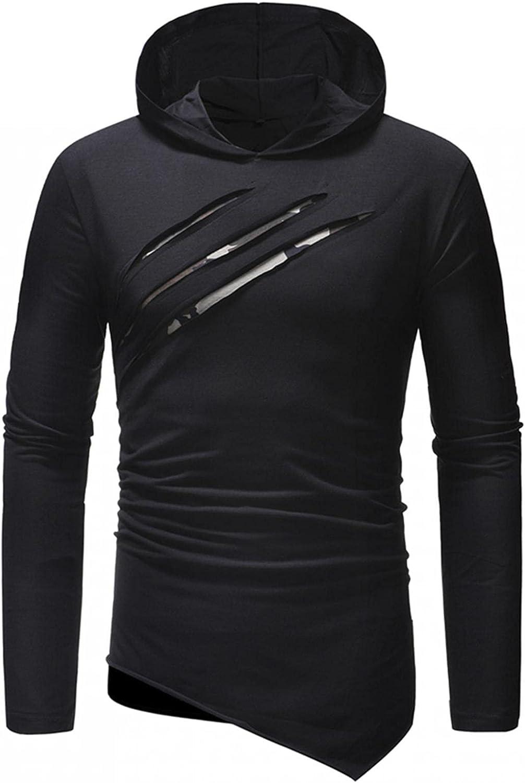Huangse Men's Fashion Scratch Camouflage Hoodie Autumn Winter Color Block Long Sleeve Slim Irregular Hem Sweatshirt Pullover