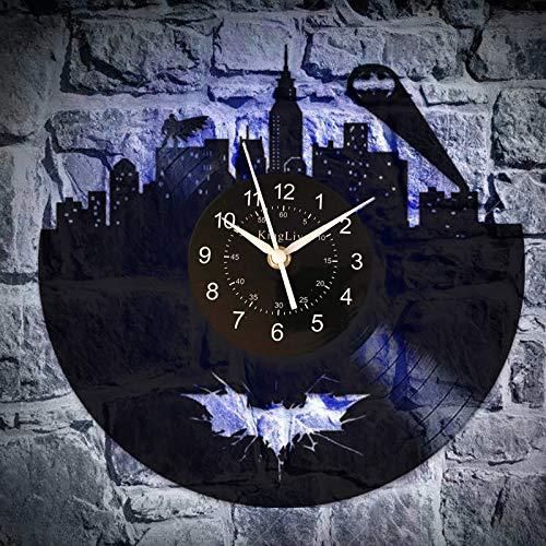 KingLive Batman Wall Art Vintage Wall Clock Party Supplies Decoration DC Comics Art Retro Vinyl Record Clock (UK-Batman led 7)