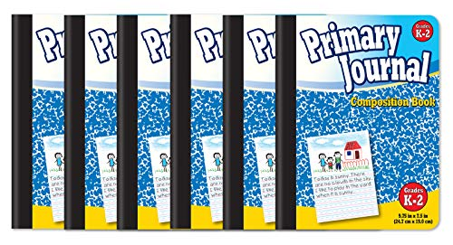 Primary Journal, Hardcover, Primary Composition Book Notebook - Grades K-2, 100 Sheet, One Subject, 9.75' x 7.5', Blue Cover-6 Pack