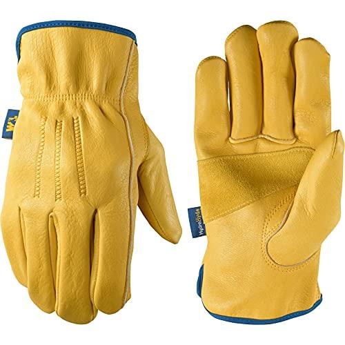 Wells Lamont Men's Slip-On HydraHyde Full Leather Work Gloves   Water-Resistant   Large (1168L)