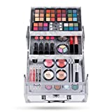 Hot Sugar Mixed Beauty Makeup Kit Cosmetic Set All in One Train Case Matte Shimmer Eyeshadow Palette Blushes Lipstick Stylish Jewelry Box Birthday Gifts for Teenager Girls Women (Clear)