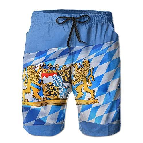 Bayern Bayerische Flagge Männer/Jungen Freizeitshorts Badehose Badebekleidung Elastische Taille Strandhose mit Taschen