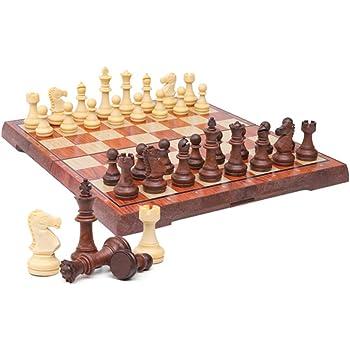 Kosun チェスセット マグネット式チェス 木目 折りたたみチェスボード 収納バッグ付き (L)