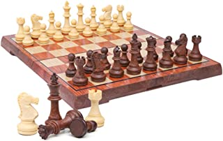 Kosun チェスセット マグネット式チェス 木目 折りたたみチェスボード 収納バッグ付き (M)