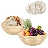 Bread Proofing Basket Set of 2, Sourdough Bread Proofing Basket for Bread Baking, with Linen Liner Cloth for Professional & Home Bakers(Set of 2 Different Size)