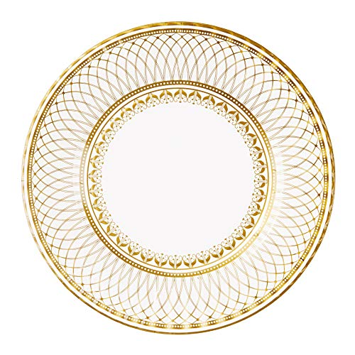 Pack of 8 Gold Vintage Porcelain Style Large Paper Plates - 3 Designs - Unique, Glamorous, Elegant, Disposable Tableware , Birthday Party, Weddings, Anniversary, NYE