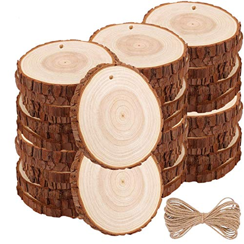 Natural Wood Slices TICIOSH 40 Pcs 2-2.4 inches Craft Unfinished Wood kit Predrilled with Hole Wooden Circles for DIY Crafts Wedding Decorations Christmas Ornaments Arts Wood Slices