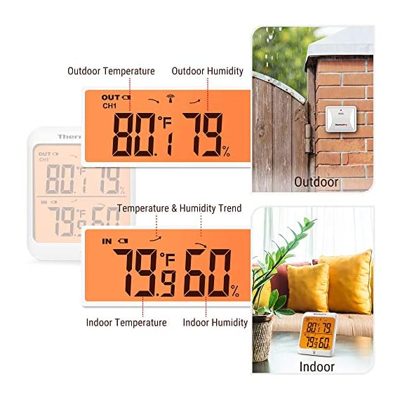 Thermopro tp63b waterproof indoor outdoor thermometer digital wireless hygrometer humidity gauge temperature monitor… 3 accurate reading: wireless temperature and humidity monitor provides accurate humidity and temperature readings for both inside and outside simultaneously, accuracy within ±2 fahrenheit and ±2~3%rh; fahrenheit or celsius selector cold-resistant & waterproof: weather thermometer hygrometer with completely sealed remote sensor contains rechargeable lithium battery technology to monitor humidity and temperature as low as -31 fahrenheit/-35 celsius, assuring transmission in rain or snow 500feet remote range: indoor/outdoor thermometer wireless measures indoor outdoor temperature and humidity percentages from 500feet/150meter away; synchronize up to 3 outdoor remote sensors, track environmental conditions in up to 4 locations with additional remote sensors; search b08m8ylnns to purchase additional sensors