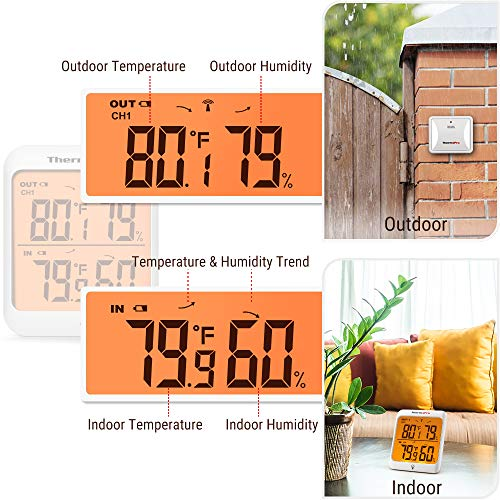 Product Image 2: ThermoPro TP63A Waterproof Indoor Outdoor Thermometer Digital Wireless Hygrometer Humidity Gauge Temperature Monitor with Cold-Resistant Outdoor Temperature Thermometer, 200ft/60m Range