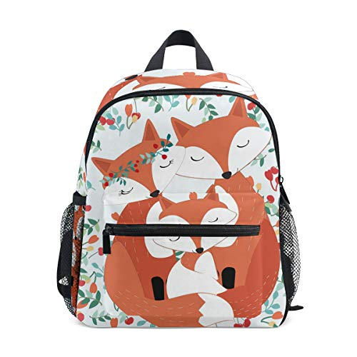 CPYang Kinder-Rucksack mit niedlichem Tiermotiv, Fuchs, Blumen, Schultasche, Kindergarten und Kleinkinder, Vorschulrucksack für Jungen und Mädchen