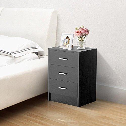 Yaheetech nachtkastje dressoir met 3 laden, nachtkastje in zwart, nachtkastje 40 cm x 39 cm x 59 cm LBH