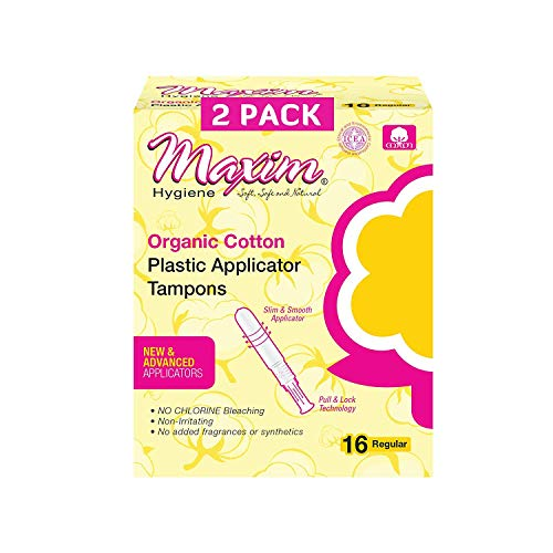 Maxim Organic Cotton Tampons, BPA Free Plastic Applicator Tampon, REG, 32ct, No Chlorine/Dioxin/Chemical, ICEA Approved, Organic Natural Tampons, Easy to Use Applicator, Organic Regular Tampons