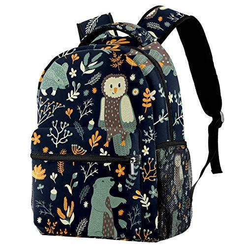 Cute Cartoon Forest Animal Owls Bear Backpack School College Bag Bookbag Hiking Travel Rucksack for Women Men