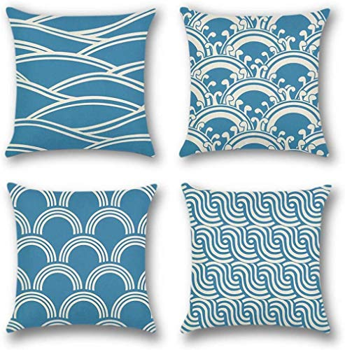 Pillow Covers Sofa 4 Pack Pillow Covers for Sofa Cotton Linen Throw Decorative Pillowcase Case for Car Bed Pillow 45 x 45cm-Cyan Geometric Pattern - B