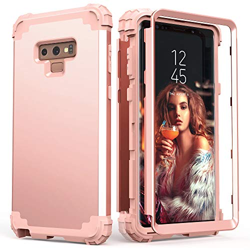 Galaxy Note 9 Case, Note 9 Case Rose Gold for Women Girls, IDweel 3 in 1 Shockproof Slim Hybrid Heavy Duty Protection Hard PC Cover Soft Silicone Rugged Bumper Full Body Case, Rose Gold