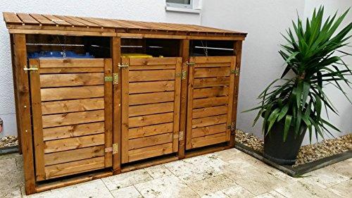 naturholz-shop Mülltonnen-Box Mülltonnenverkleidung für 3 Tonnen inkl. Rückwand