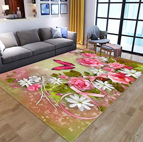 QNYH Área del sofá de la Sala de Estar Alfombra de Piso de Gran tamaño, Alfombra de patrón de Flor de Mariposa de sueño 3D, Alfombra de Respaldo Antideslizante 50cmx80cm