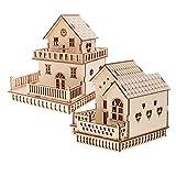 sharprepublic Handgemachtes Hölzernes Puppenhaus Landhaus Modell Miniatur Mit LED Beleuchtet...
