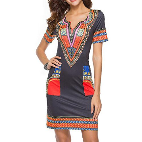 Honghu Verano Sexy Mangas Corta Low Culleo Slim Fit Vestido para Mujer Party Dress (S, Red-1)