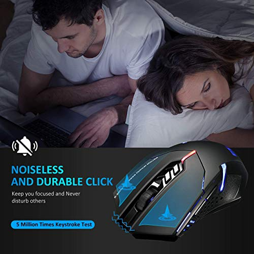 VicTsing Wireless Gaming Mouse with Unique Silent Click, Breathing Backlit, 2 Programmable Side Buttons, 2400 DPI, Ergonomic Grips, 7-Button Design- Black - Top 5 Best Wireless Gaming Mouse Under 20 Dollars