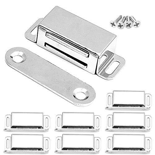 YUOIP® Starke Magnetschnäpper aus Edelstahl für Vitrinen, Schränke, Schließfächer, Tor, 8 Stück (hochwertige Edelstahlschrauben)