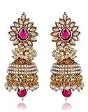 Shining Diva Pink White Pearl Traditional Jhumki Earrings For Women (Pink) (sd6579er)