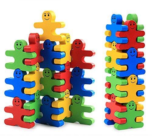 Pulchram 16 Piezas Juguete de Apilamiento de Madera Bloques de Construcción Juego Equilibrio de Rompecabezas Juguetes Educativos Montessori Favores de Fiesta Suministros para Niños