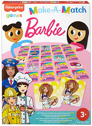 Fisher-Price Make-A-Match Card Game with BarbieÒ Doll Theme, Multi-Level Rummy Style Play, Match Colors, Pictures & Shapes, 56 Cards for 2 to 4 Players, Gift for Kids Ages 3 Years & Older
