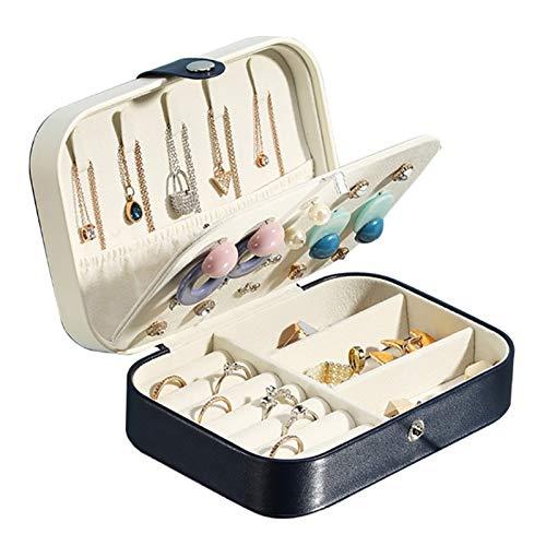 zjyfyfyf Organizador de Caja de joyería de Viaje para Pendientes de Collar Pulseras de Pulseras Funda de Almacenamiento de Joyas con para Mujer (Color : Negro)