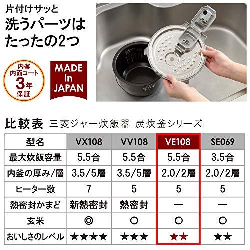 三菱電機IHジャー炊飯器備長炭炭炊釜5.5合炊きピュアホワイトNJ-VE108-W