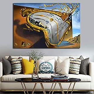 ganlanshu Horloge d'art par Affiche Peinture Abstraite Moderne Murale Photo Salon..