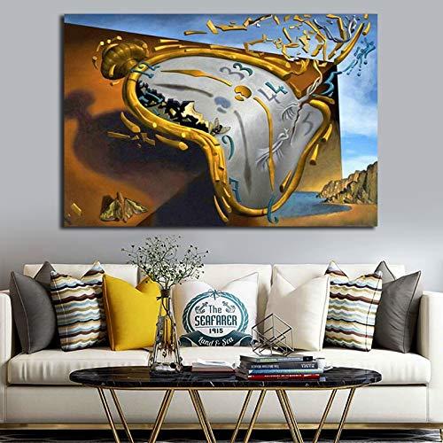 N / A Pintura sin Marco Reloj de Arte por póster Pintura Abstracta Mural Moderno decoración del hogarZGQ8696 30x45cm