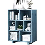 WHOJS Estantería Librería Estantería de 3 Capas con estantes de Madera Maciza Diseño de Almacenamiento de Varias Unidades Usado para Sala de Estar, Dormitorio 80x24x100cm Autoporta(Color:Azul)
