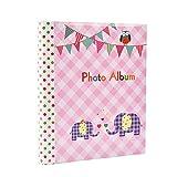 Álbum de fotos con 20 hojas autoadhesivas de color rosa, 40 caras, diseño de elefante, ideal para...