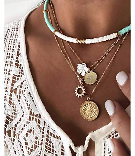 NVTHINH Trendy Multilayered Clay Flower Necklace for Women Fashion Coin Gold Pearl Choker Necklaces 2021 Trend Jewelry Statement Gift (Metal Color: Gold)