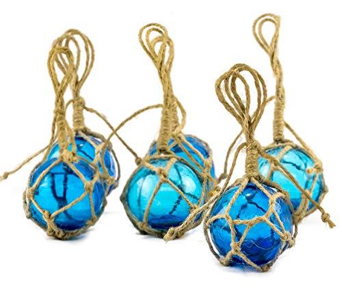 Aqua Glass Float Balls | Fishing Buoy Balls 2' | Perfect for Beach Weddings or as Christmas Ornaments | Plus Free Nautical eBook by Joseph Rains (6 Pack)