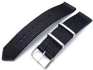 Cinturino MiLTAT 20mm o 22mm G10 3M Glow-in-the-Dark Cinturino per orologio, spazzolato - Strisce nere e grigie