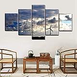 Impresiones en lienzo HD 5 PCS/Set generador de energía eólica de paisaje de imagen modular en el arte de la pared del cielo azul para una decoración moderna 200x100 cm